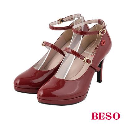 BESO優雅女伶 3ways穿法經典瑪莉珍繫帶跟鞋~紅