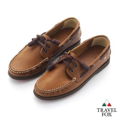 Travel Fox(女) STYLE-風格流行 三角楦經典牛皮帆船鞋 - 情侶棕