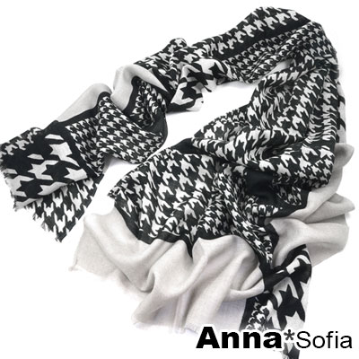 AnnaSofia-千鳥紋拼塊-薄款純羊毛圍巾披肩-黑灰系