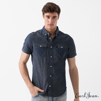 Earl Jean 闇銀電繡襯衫-深藍-男