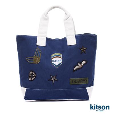 kitson-徽章燙印托特包NAVY