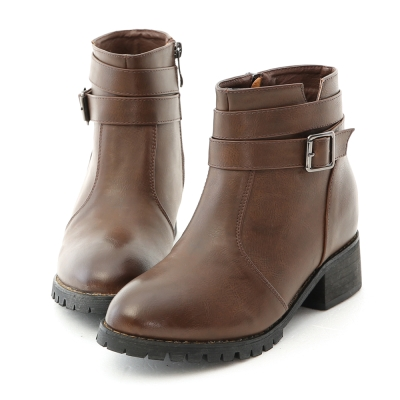 D+AF 酷感風格.釦環帶內增高軍風短靴*咖
