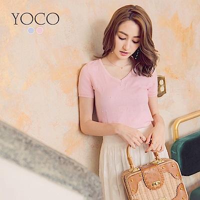 東京著衣-yoco 法式輕甜愛心綴珍珠短袖針織上衣-XS.S.M(共二色)