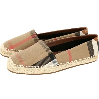 BURBERRY 格紋亞麻棉質草編鞋(女鞋/棕色)