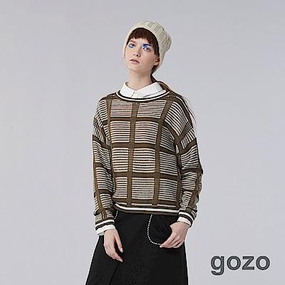 gozo-網路獨家-英倫紳士格紋溫暖羊毛針織衫(2色)