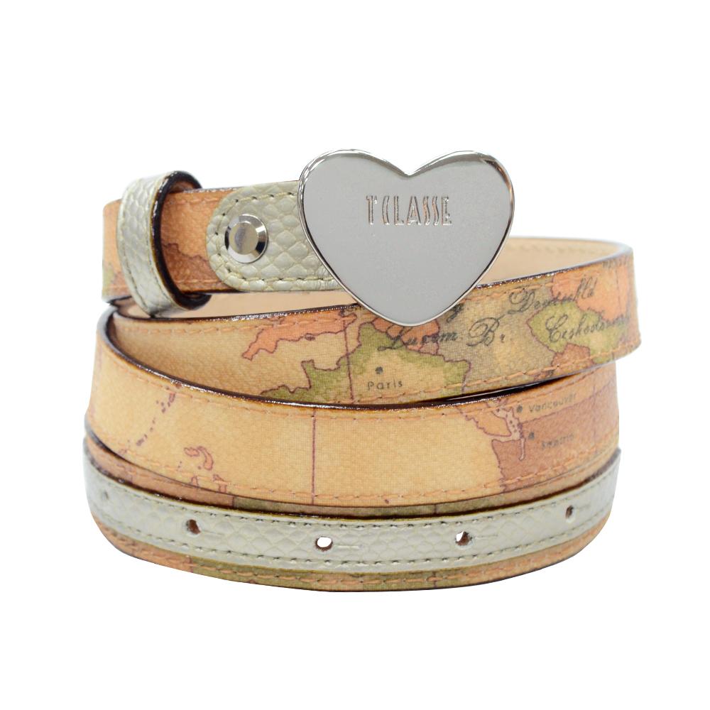 Alviero Martini 義大利地圖 地圖金屬愛心釦皮帶-香檳金/地圖黃