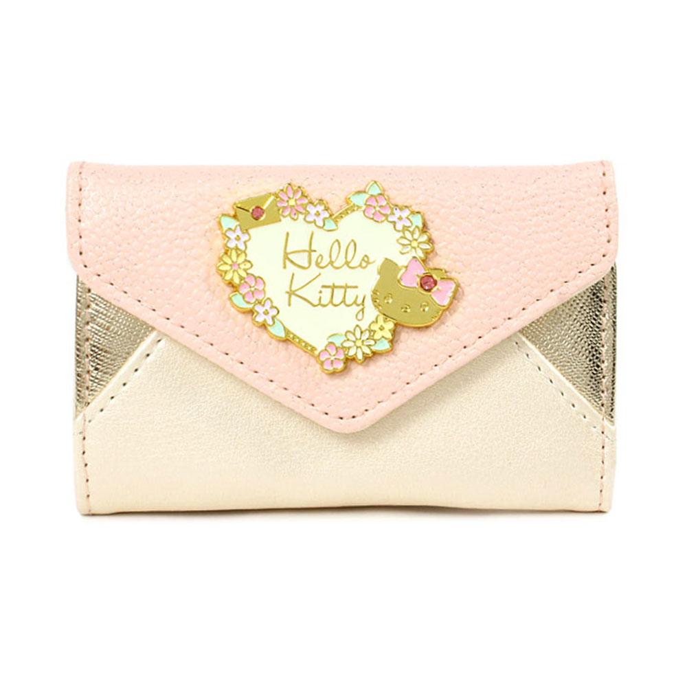 Sanrio HELLO KITTY PU皮革鑰匙包花語信封
