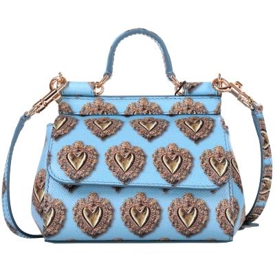 DOLCE & GABBANA MINI Sicily 心型印花兩用提包(藍色)