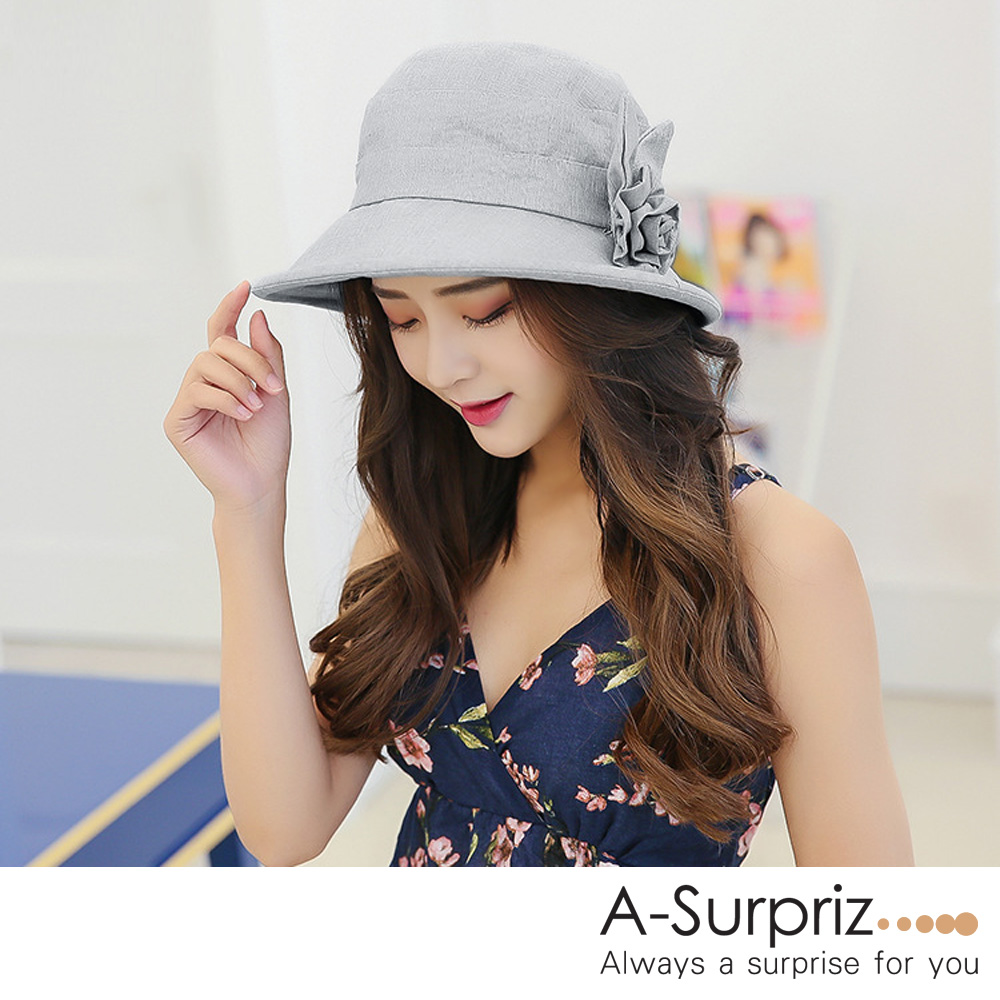 A-Surpriz 典雅花朵淑女遮陽布帽(淺灰)