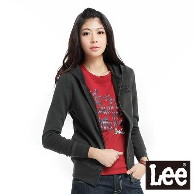 【Lee】刺繡字樣連帽長袖拉鍊外套-女款(黑灰)