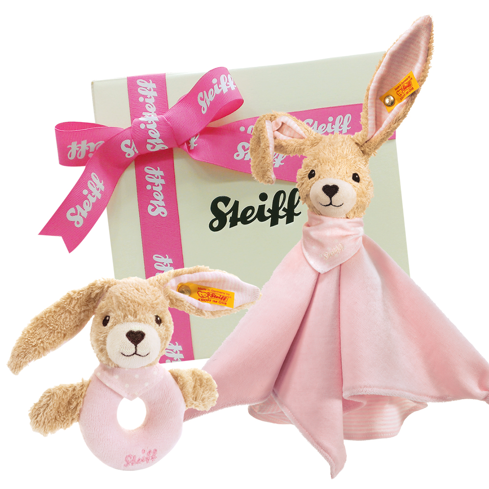 STEIFF德國金耳釦泰迪熊 - 甜蜜兔 安撫巾 手搖鈴 禮盒