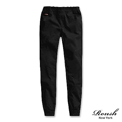 ROUSH 口袋皮標裝飾造型彈力縮口褲 (3色)