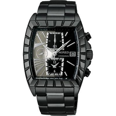WIRED 星際戰艦三眼計時腕錶(AGAV069)-灰x黑/IP黑/36x38mm