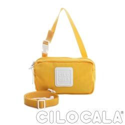 CILOCALA 亮彩尼龍防潑水斜背小方包  黃色