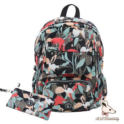 B.S.D.S冰山袋鼠-楓糖瑪芝x大容量輕旅後背包+零錢包2件組-熱帶雨林