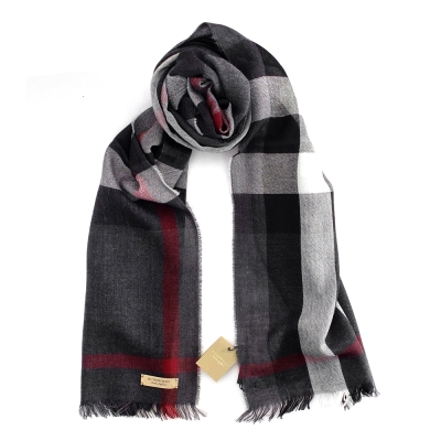 Burberry 輕盈格紋羊毛喀什米爾圍巾 碳灰色/200x45