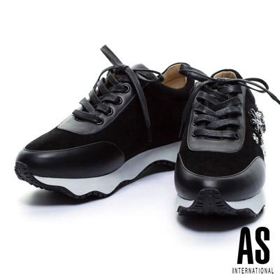 休閒鞋-AS-花朵圖騰縫鑽全真皮綁帶厚底休閒鞋-黑