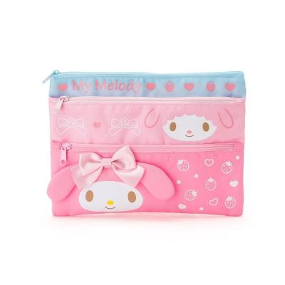 Sanrio-美樂蒂三層式防潑水扁平收納包-化妝包