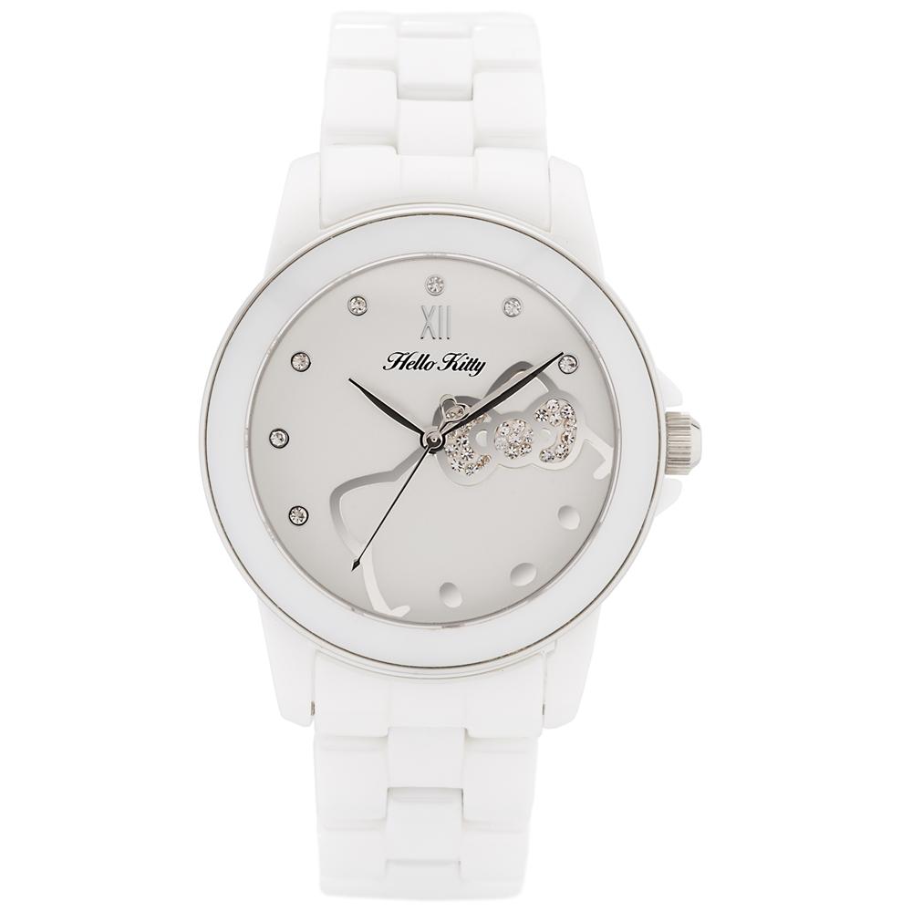 HELLO KITTY 凱蒂貓甜心夢幻陶瓷手錶-白x銀/36mm