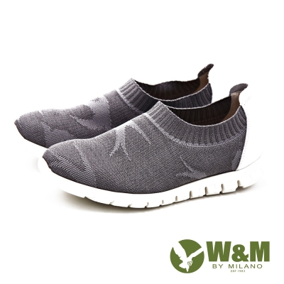 W&M 輕量系列 燕子圖騰彈性休閒 女鞋-灰
