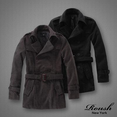 【 ROUSH 】雙排釦海軍領毛料韓版綁帶大衣 (3色)