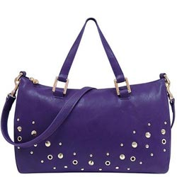 JUICY COUTURE 紫色皮革壓紋斜背/波士頓包