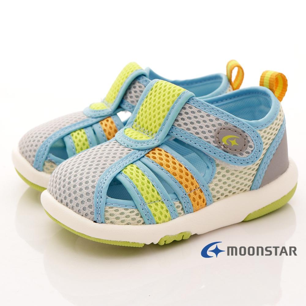 日本月星頂級童鞋 護趾機能輕量涼鞋 ON368淺灰黃(寶寶段)