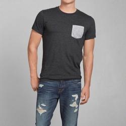 A&F 男裝 條紋口袋短T恤(深灰)