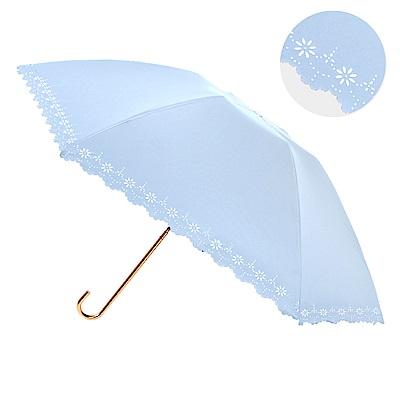 結帳7折-2mm 100%遮光 鏤空花邊黑膠輕量彎把手開傘 (淺藍)
