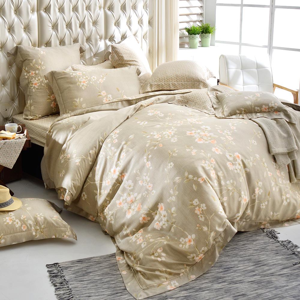 義大利La Belle 特大天絲防蹣抗菌吸濕排汗兩用被床罩組-閒情雅緻