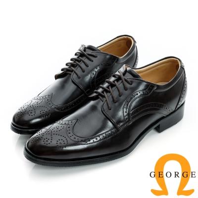 GEORGE-經典綁帶雕花設計真皮牛津紳士鞋-咖啡色