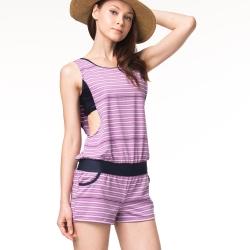 泳裝 兩件式 粉紫橫紋兩件式女泳裝 沙兒斯