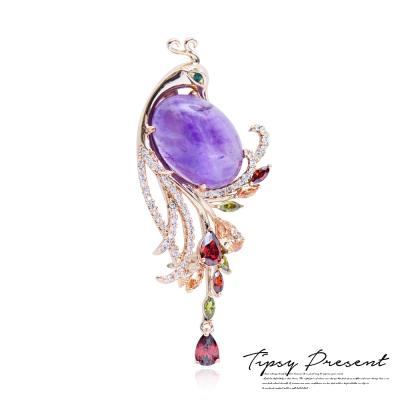 微醺禮物 天然水晶 頂級鋯石 鍍18K金 孔雀紫水晶 胸針