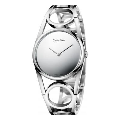 Calvin Klein CK Round 紐約時裝手環錶-鏡面銀M K 5 U 2 M 148