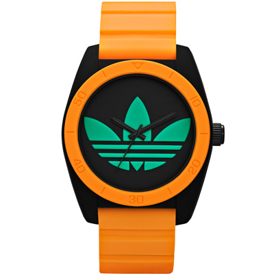 adidas 螢光狂潮 亮眼撞色三葉草矽膠腕錶-橘框x黑/40mm