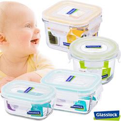 【baby專用】】Glasslock強化玻璃微波保鮮盒 - baby系列4件組
