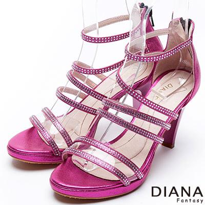 DIANA-異國風情-水鑽環繞式踝帶涼跟鞋-桃紅