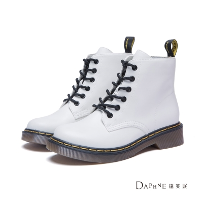 達芙妮DAPHNE-短靴-經典綁帶工程短靴-白
