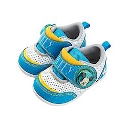 迪士尼童鞋 米奇 魔鬼氈電燈鞋-藍