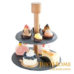 Just Home 漢克圓形雙層石板蛋糕盤附架