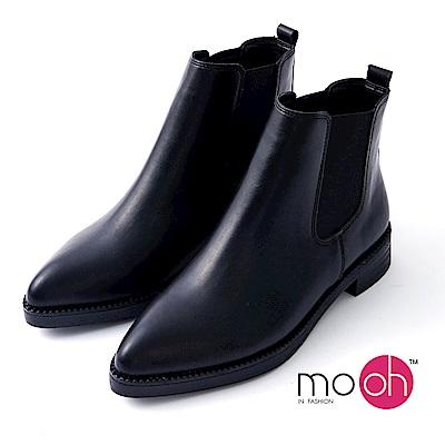 mo.oh -尖頭素面切爾西英倫鬆緊帶短靴-黑