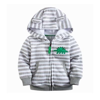 小恐龍-造型連帽 保暖外套-條紋灰-男童
