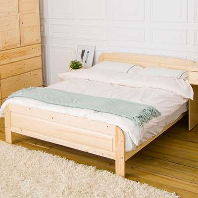時尚屋 千鶴5尺白松木雙人床