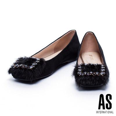 平底鞋 AS 時尚華麗水貂毛方鑽飾釦點綴羊麂皮方頭平底鞋-黑