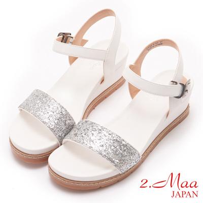 2.Maa- 楔型厚底涼鞋-白