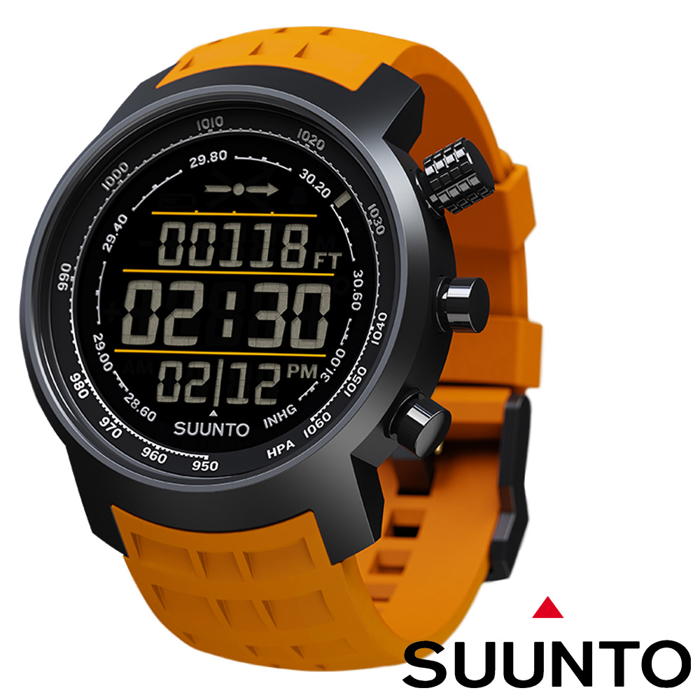 Suunto Elementum TERRA登山釣魚計時錶黑底橘橡膠錶帶限量款