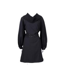 KENZO 黑色鬆緊領設計長袖洋裝(100%WOOL/附腰帶)