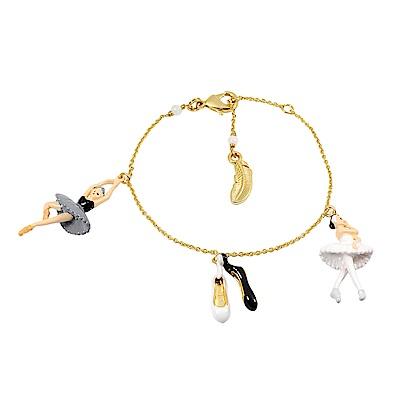 Les Nereides N2  優雅芭蕾舞女孩系列 黑白天鵝雙人舞  金色手鍊