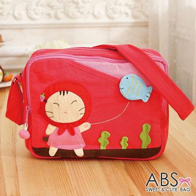 ABS貝斯貓 - 小紅帽貓放小魚風箏可愛拼布 斜側背包88-187 - 甜心粉