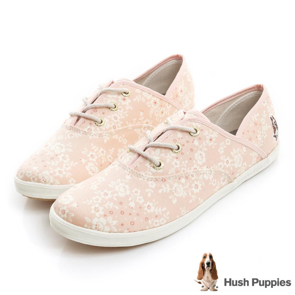 Hush Puppies 櫻花盛開咖啡紗帆布鞋-淺粉